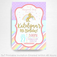 Unicorn Rainbow Birthday Party Printable Invitation YOU Print Pastel Pink Gold  This is an emailed file, nothing will be shipped to you. Please include your childs name, age and party details in the notes to seller section at checkout.  We will email your high-resolution, print-ready file within 48 hours of receiving your party details and photo (if photo invitation has been purchased please email your photo to amy [at] printpopparty.com).  Your invite will be formatted to print 5x7 unless…