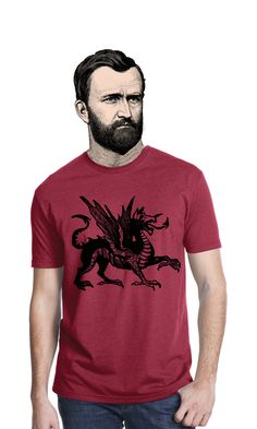 Welsh Dragon T-shirt by Bros with Beards. https://broswithbeards.com