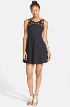 Lush Lace Yoke Textured Skater Dress (Juniors) on shopstyle.com