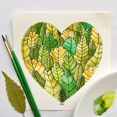 #all_I_love Plants and all green around #illustration #painting #watercolor #artistsoninstagram #greenmood #summer #plant #heart #allllove #inspired #illustrationoftheday #illustrationart