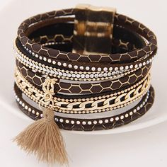 Multilayer PU Leather Bracelets - Magnetic Tassel Pulseira Feminina - Fashion Cuff Bracelets & Bangles for Women - Jewelry 2017 //Price: $8.98 & FREE Shipping //     #hashtag3