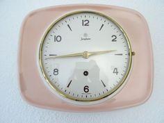 Junghans Pink Retro Vintage Ceramic Kitchen German Wall Clock (Max Bill era)