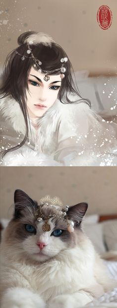 Cats Drawn as Anime Ladies