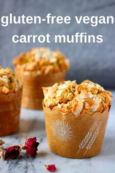 These Gluten-Free Vegan Carrot Muffins are moist and fluffy, fragrant and fruity, and perfect for a healthy breakfast, brunch, snack or dessert! Refined sugar free. #glutenfree #dairyfree #vegan #muffins #carrot #breakfast #brunch #refinedsugarfree