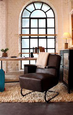 bureau style industriel avec fauteuil simili cuir rtro avec assise trs confortable - Bleu Attu Salon