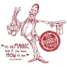 The Magician Unmounted Red Rubber Stamp