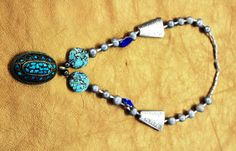 Hand made Couture necklace, Vintage Afghani turquoise pendant, Natural sea pearls, Japanese crystals and vintage beads