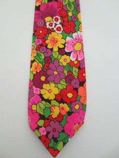NWOT Hand made BRIGHT multi-color floral neck tie, 1 of a kind. FREE SHIPPING #Unbranded #NeckTie