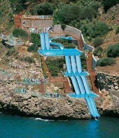 Superslide into the Mediterranean Sea,  sicily,  Italy