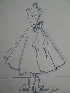 Custom Wedding Dress Sketch by Laura Pruett of Laura Arts and Design