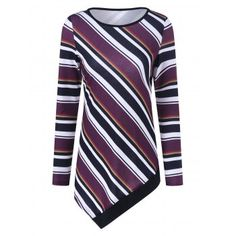 SHARE & Get it FREE | Colorful Striped Asymmetrical T-ShirtFor Fashion Lovers only:80,000+ Items·FREE SHIPPING Join Dresslily: Get YOUR $50 NOW!