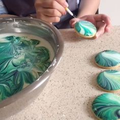 Marbled biscuits - using gel colours in Royal icing
