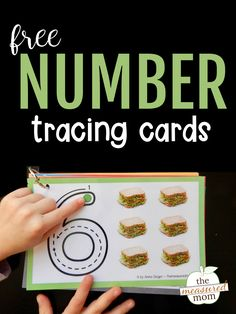Number tracing cards children can count the pictures and trace the number with a finger to learn proper number formation. Teaching Numbers, Numbers Preschool, Math Numbers, Preschool Math, Teaching Kindergarten, Trace Letters And Numbers, Preschool Education, Preschool Printables, Kindergarten Worksheets