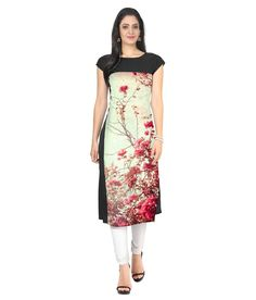 Ziyaa Multi Color Crepe Straight Kurti Price in India - Buy Ziyaa Multi Color Crepe Straight Kurti Online at Snapdeal