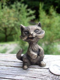 Vintage Pewter Cat Figurine  Kitty's by TheOddOldTriednTrue, $5.00