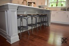 Want to Upgrade Your Kitchen Island? This is a super quick, inexpensive, easy weekend project, that provides a lot of character to an otherwise basic kitchen island by adding picture frame molding. Hardwood Floors In Kitchen, Oak Hardwood Flooring, Kitchen Flooring, Rustic French Country, French Country House, English Country Kitchens, Rustic Kitchen Design, Cabin Kitchens, Basic Kitchen