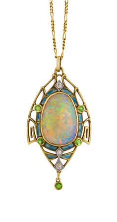 Opal,  green garnet,  enamel,  gold.  Mary Titchener Antique Jewellery – South Yarra – Melbourne