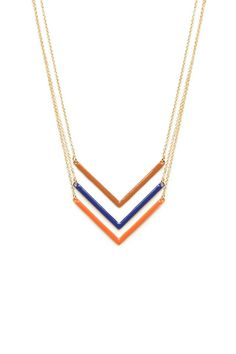 ShopSosie Style : Triple Chevron Necklace in Rust