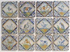 12 rare polychrome animal tiles