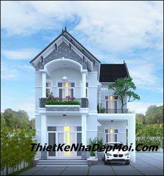 Mẫu nhà biệt thự mini 2 tầng rộng ngang 8m thiết kế có gara ngoài trời Flat House Design, Classic House Design, Bungalow House Design, House Front Design, Cool House Designs, Beautiful House Images, Narrow House Plans, Small House Exteriors, Thai House