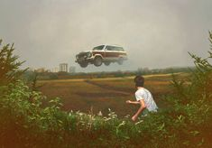 iateabee:    Airborne (oil on panel), by Brooklyn-based artist Alex Roulette.    I really love these paintings. Sort of a mixture of Robert Bechtle and Andrew Wyeth with the slightest bit of surrealism thrown in.