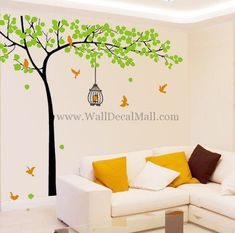 Tree With Birds and Birdcage Wall Decals – WallDecalMall.com