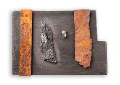 Judy McCaig Brooch: No-Man's Land 2013 Steel, silver, tombac, perspex, paint, Herkimer diamond, taramita 8.8 x 12.6 x 1.5 cm Photo: Eduard Bonnin