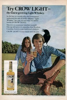 Amazon.com: 1973 Crow Light Whiskey Man Woman Couple Original Ad: Everything Else