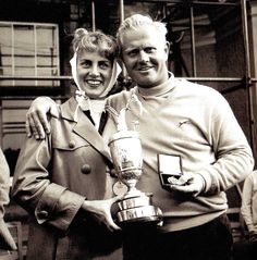 New British Open champion Jack Nicklaus, USA  and his wife Barbara with the trophy, after Nicklaus won the title at Muirfield, East Lothian, Scotland - 9 July 1966