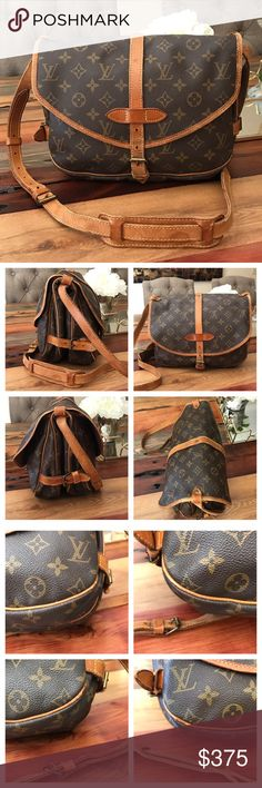 "Authentic Louis Vuitton Saumur 30 100% Authentic Louis Vuitton Saumur 30.  Monogram canvas has no scratches or tears.   Piping is rubbed but not exposed.  Hardware is tarnished. Leather has wear see pics.   Strap has minor cracking but stitching is good.   Inside is clean.  Minor storage odor will go away with use.   W11.8xH7.87xD4.72"".  I do not trade. Louis Vuitton Bags Crossbody Bags"