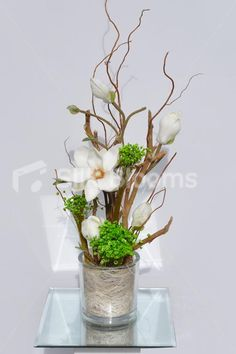 Modern Artificial Fresh Touch Ivory Magnolia and Green Flora Floral Table Arrangement garden wall ideas living rooms Small Artificial Plants, Artificial Flower Arrangements, Artificial Flowers, Floral Arrangements, Office Plants, Garden Types, Arte Floral, Plant Wall, Plant Design
