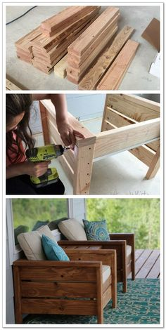 Outdoor furniture diy project porch furniture patio furniture deck furniture outdoor living summer stained wood diy furniture stain it any color just add cushions and pillows cottage decor outdoor decor home decor diy decor easy to make o Woodworking Projects Diy, Diy Wood Projects, Woodworking Plans, Popular Woodworking, Diy Summer Projects, Outdoor Wood Projects, Woodworking Joints, Woodworking Shop, Youtube Woodworking