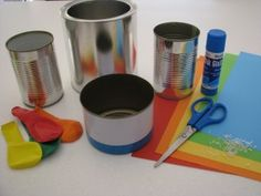 Tin Can Music Makers: fill with rice for quieter sound