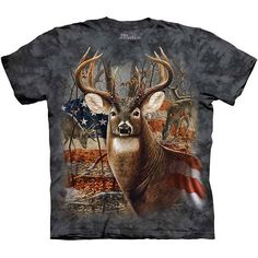 PATRIOTIC BUCK T-SHIRT by The Mountain USA Deer Hunting Tee NEW! #hunting #usa #deer