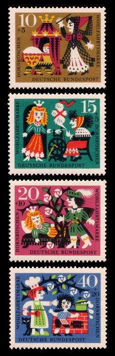 sleeping beauty stamp germany Rare Stamps, Vintage Stamps, German Stamps, Postage Stamp Design, Children's Book Illustration, Graphic Design Illustration, Mail Art, Stamp Collecting, Illustrations Posters