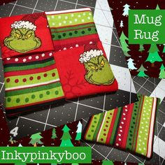 Here's one of the #mugrug I made today #grinch #merrygrinchmas #inkypinkyboo #diy #giftsforhim #giftsforher #sewcute #sewing #sew