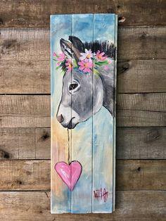 Pink heart donkey painting on wood. Farm Paintings, Animal Paintings, Tole Painting, Painting On Wood, Pallet Art, Rock Art, Painting Inspiration, Art Drawings, Art Projects