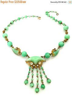 Art Deco Czech Glass Necklace, Peking Glass, Rich Ornate Brass , Clear Rhinestone, Floral Accents, 1930