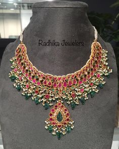 Royal Jewelry, India Jewelry, Gold Jewellery, Jewelery, Trendy Jewelry, Fashion Jewelry, Saree Jacket Designs, Ruby Beads, Fruit Arrangements