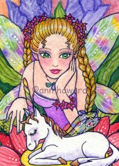 ACEO Butterfly \/ Flower Fairy Unicorn Fantasy Limited Edition Signed Art Print