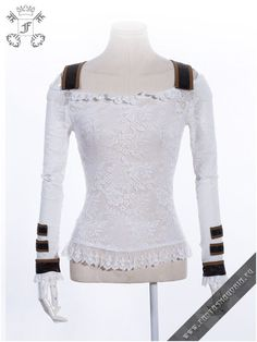 f7669a68b5004 Ragdoll white top RQBL-SP019 Longsleeve laced top, stretchy fabric,  removable steampunk details