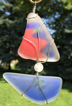 Glass Art Sailboat, Recycled Glass Suncatcher by TrailGlassTreasures on Etsy
