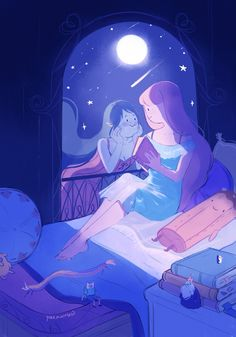 """""""midnight stories under moonlight a year ago i had an opportunity to participate in and today i can finally share my illustration :>"""" Adventure Time Marceline, Adventure Time Anime, Adventure Time Girls, Sapo Meme, Adveture Time, Marceline And Princess Bubblegum, Tv Show Couples, Lesbian Art, Bubbline"""