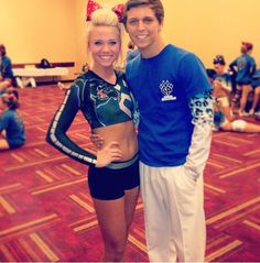 Hi I'm Carly and I'm 17 years old.  I cheer for the cheer athletics panthers.  This dork beside me is my brother. He's 19 and he cheers for cheer athletics cheetahs