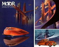 Illustrator, Arthur Radebaugh's (1906-1974), ultra futuristic depictions of vehicles in the 1930s are well respected in the genre, however, there is actually very little known about the artist himself.   His vision of the future was heavily influenced by the Art Deco movement - check out his use of vivid colours, geometric patterns, sweeping curves and streamlined design - it's classic Art Deco Style.