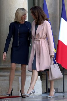 Princess Mary was greeted by France's First Lady Brigitte Trogneux at the Elysee Palace...