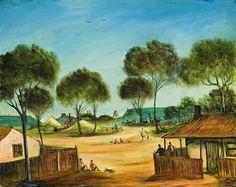 Pro Hart (1928-2006) - Miner's Kids Landscape Art, Landscape Paintings, Landscapes, Australian Painters, Australian Artists, Australian Bush, 3 Arts, Masters, Art For Kids