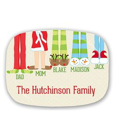 Holiday Slippers Family of Five Personalized Platter