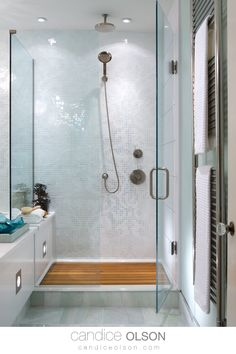 Frameless Glass Shower Design • Mosaic Tile Feature Wall in the Shower • Rain Shower head • Overhead Lighting Placement in the Shower • Built in Shower Shelf • #candiceolson #candiceolsondesign Built In Shower Shelf, Shower Shelves, Mosaic Shower Tile, Mosaic Wall, Bathroom Interior Design, Interior Decorating, Candice Olson, Glass Shower, Rain Shower