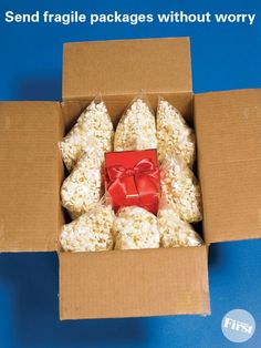 Send fragile packages with worry using popcorn - great idea!